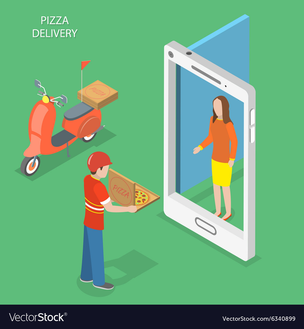 Pizza delivery flat isometric concept