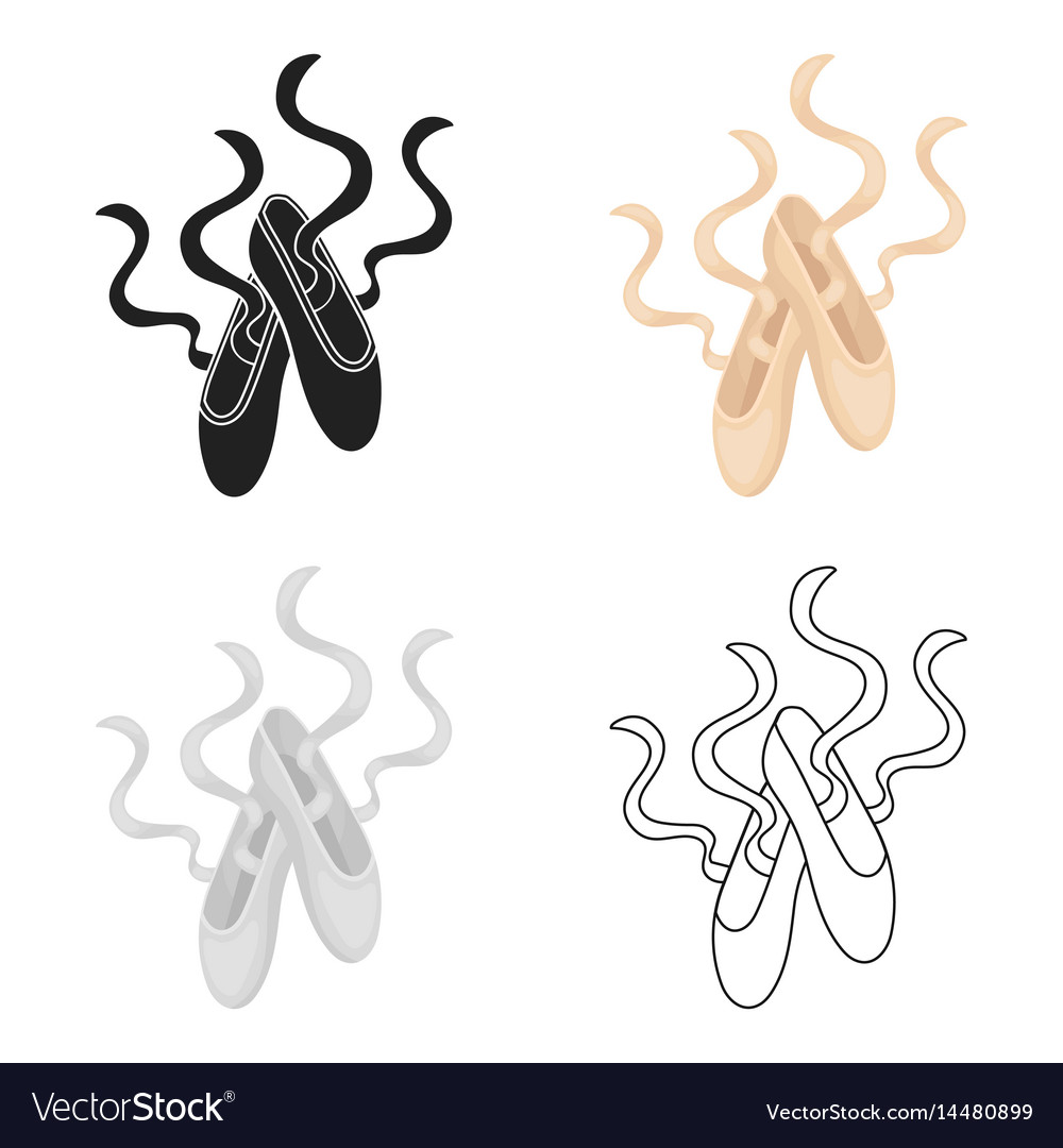Pointe shoes icon in cartoon style isolated on vector image