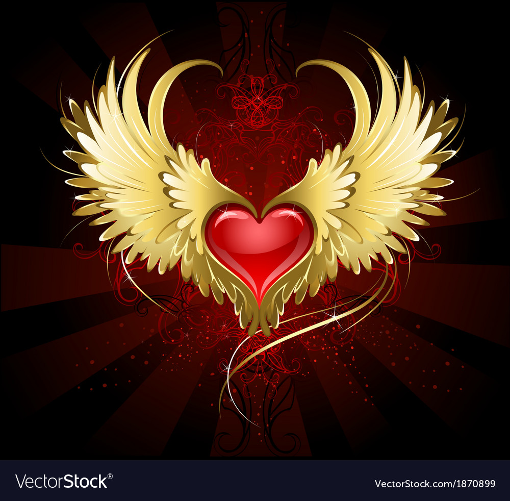 Red Heart With Golden Wings Royalty Free Vector Image