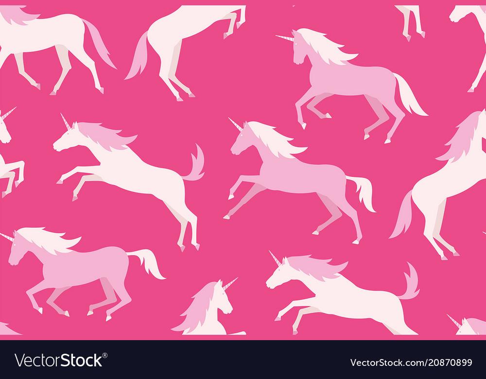 Seamless pattern with colorful unicorns