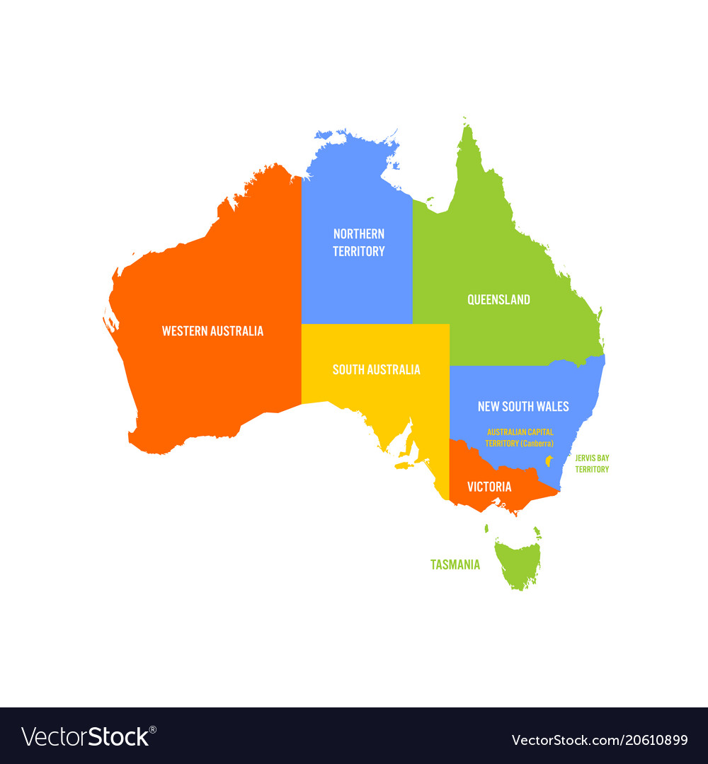 Map Of Australia And States.Simplified Map Of Australia Divided Into States