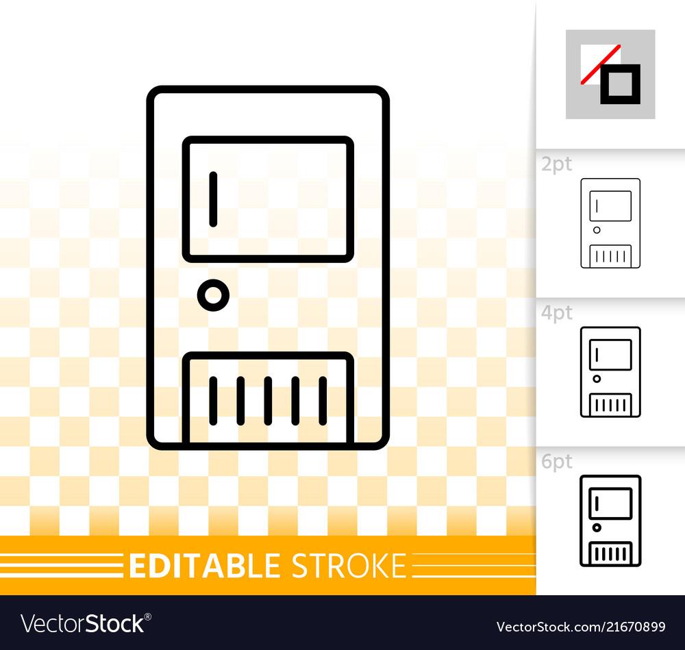 Solid fuel boiler simple black line icon Vector Image