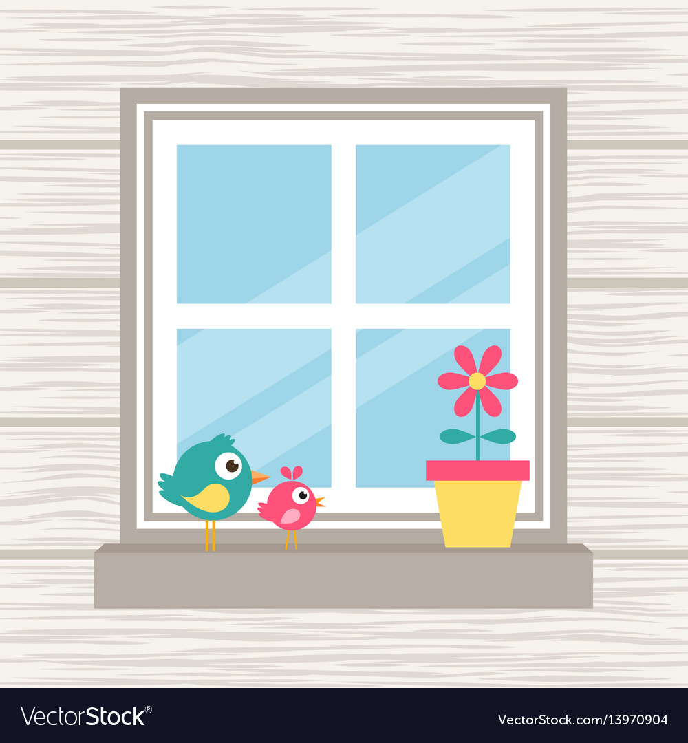 Birds flower and window on the wood background