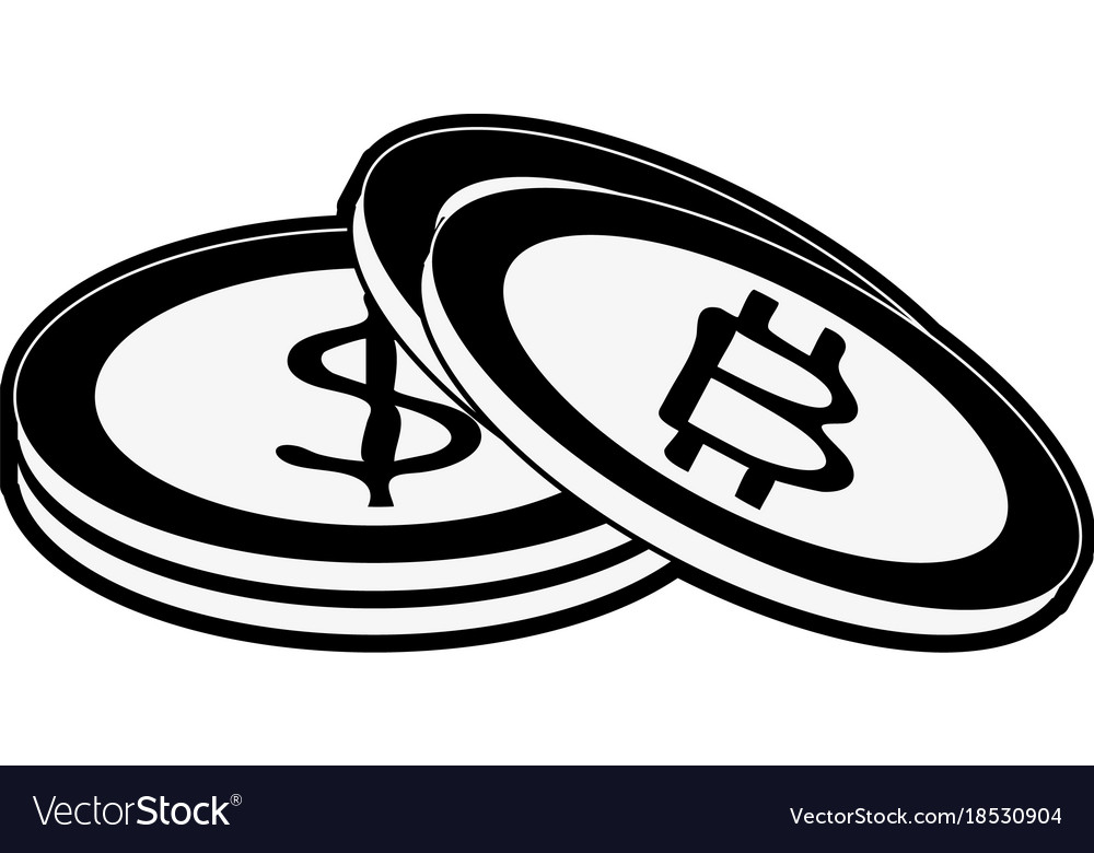 Bitcoins Virtual Money Exchange Vector Image