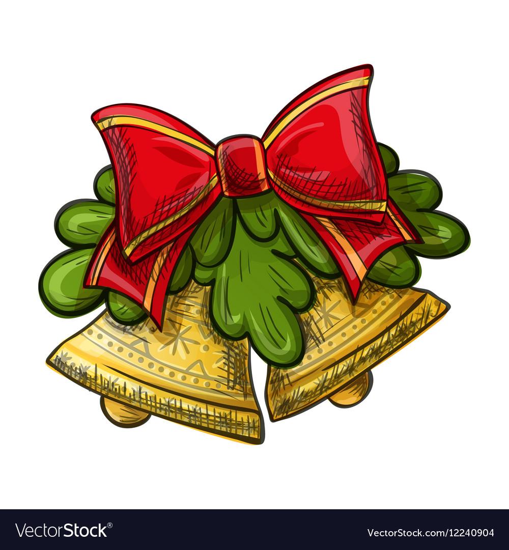 christmas bells drawing royalty free vector image
