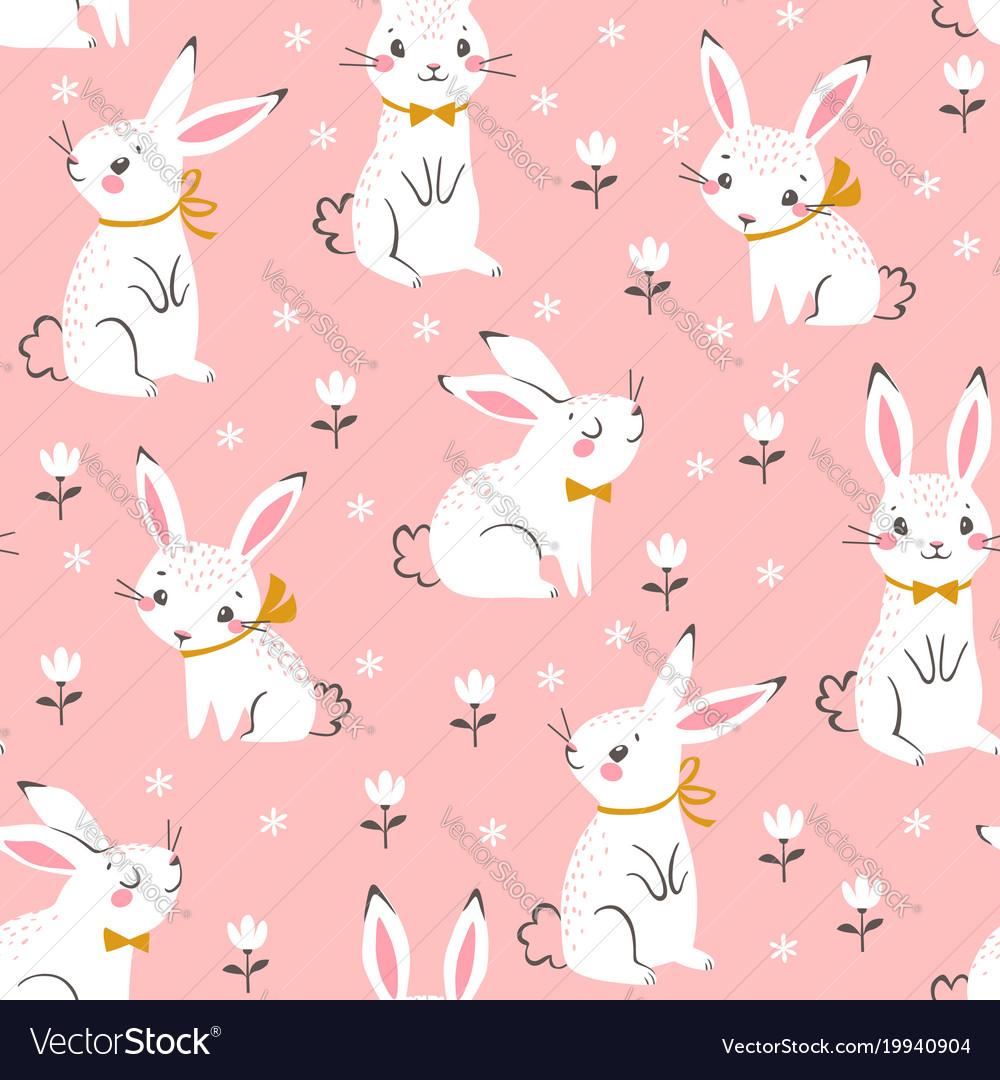 Cute white bunnies pattern