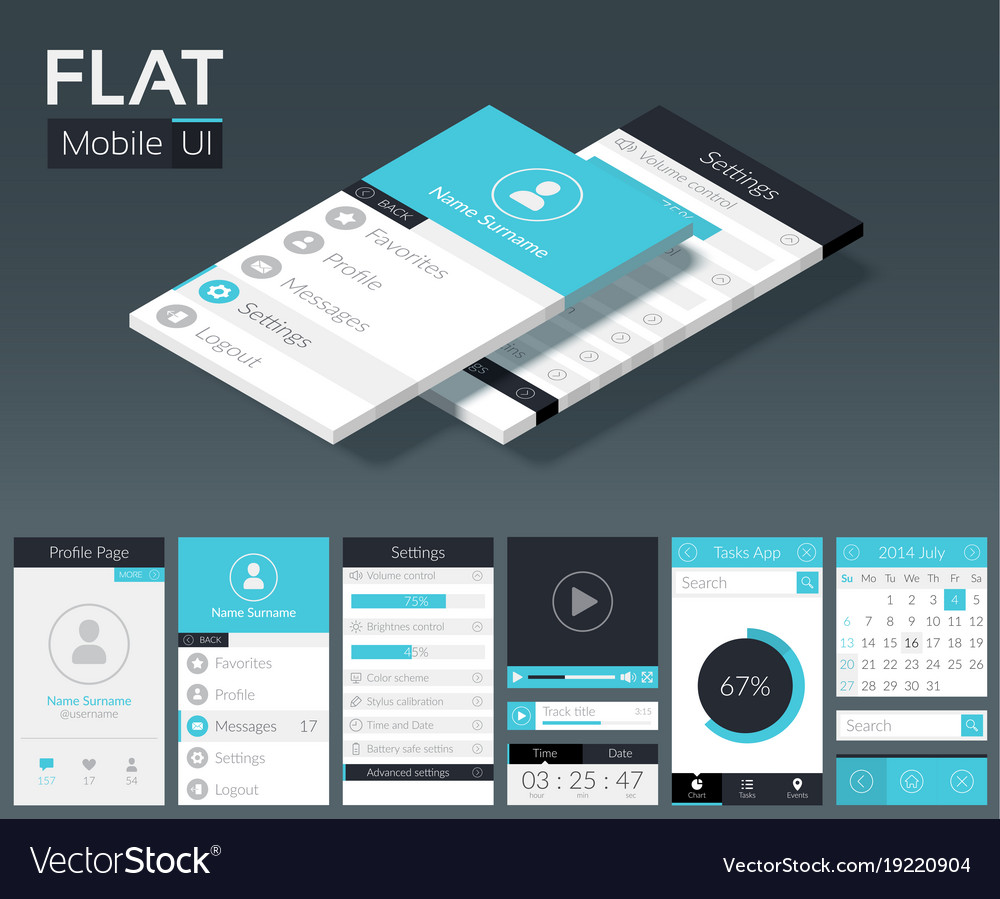 Flat Ui Mobile Design Template Vector Image