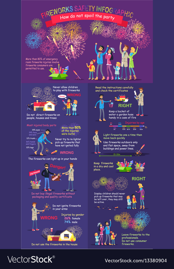 Instruction how to display firework safety rules vector image
