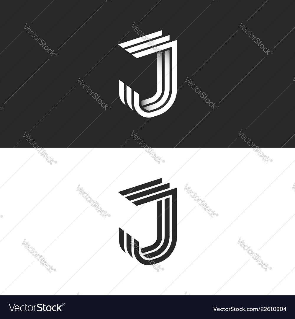 Logo j letter in isometric font initial monogram