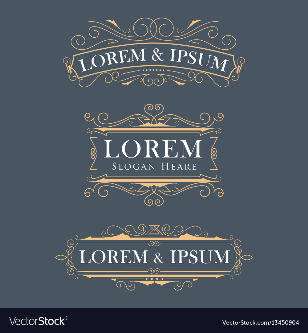 Luxury crown frame modern logos flourishes vector image