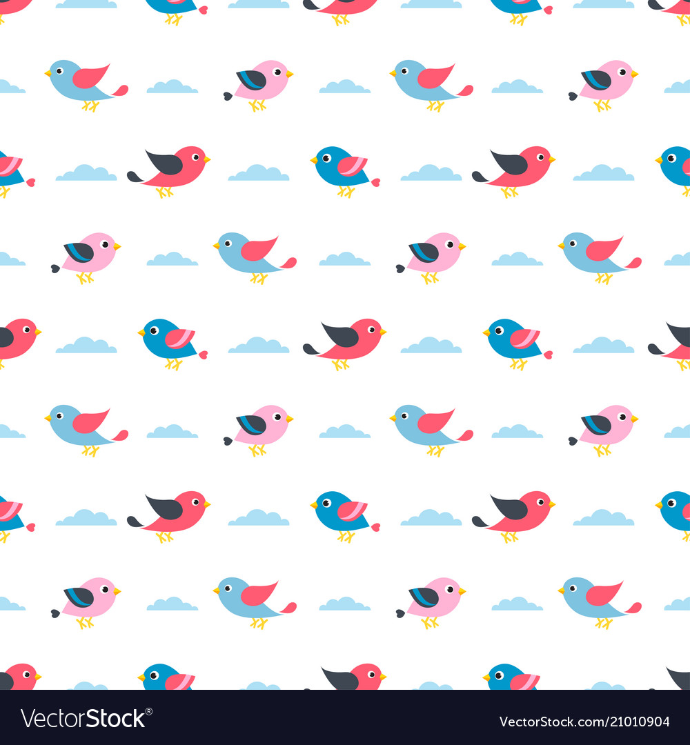 Pattern with birds and clouds vector image