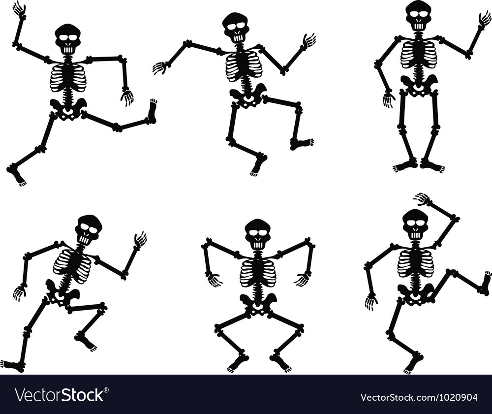 Skeletons dancing vector image