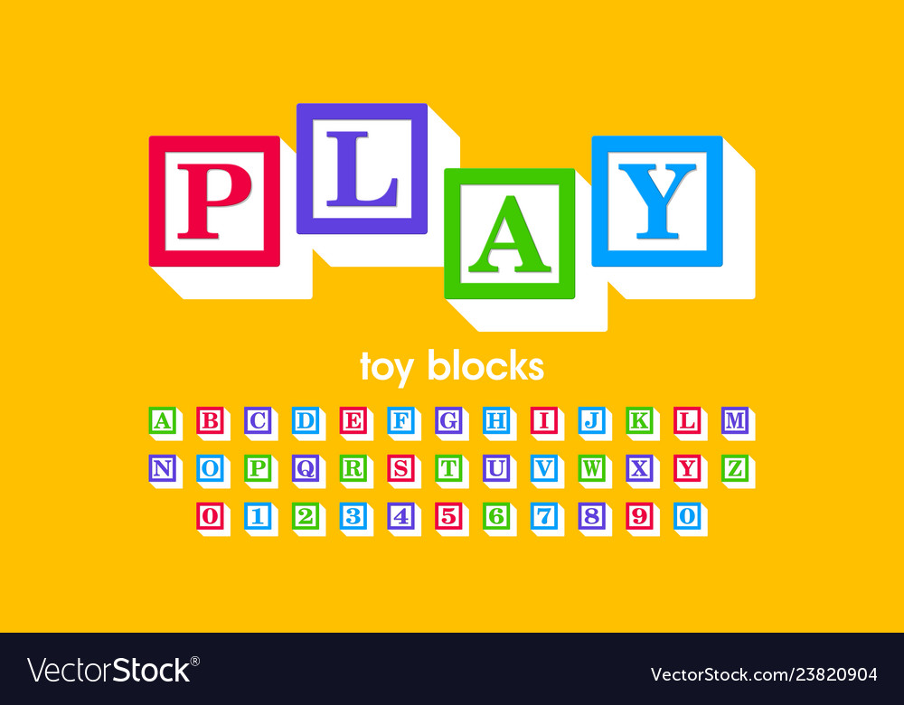 Toy blocks font alphabet letters and numbers