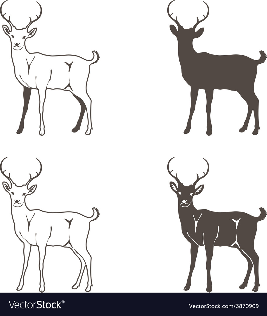 Abstract Four Deer Silhouette