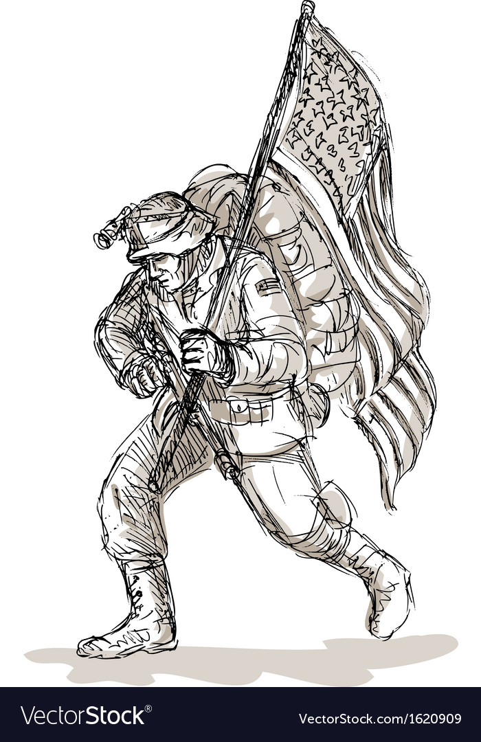 American soldier with rifle flag vector image