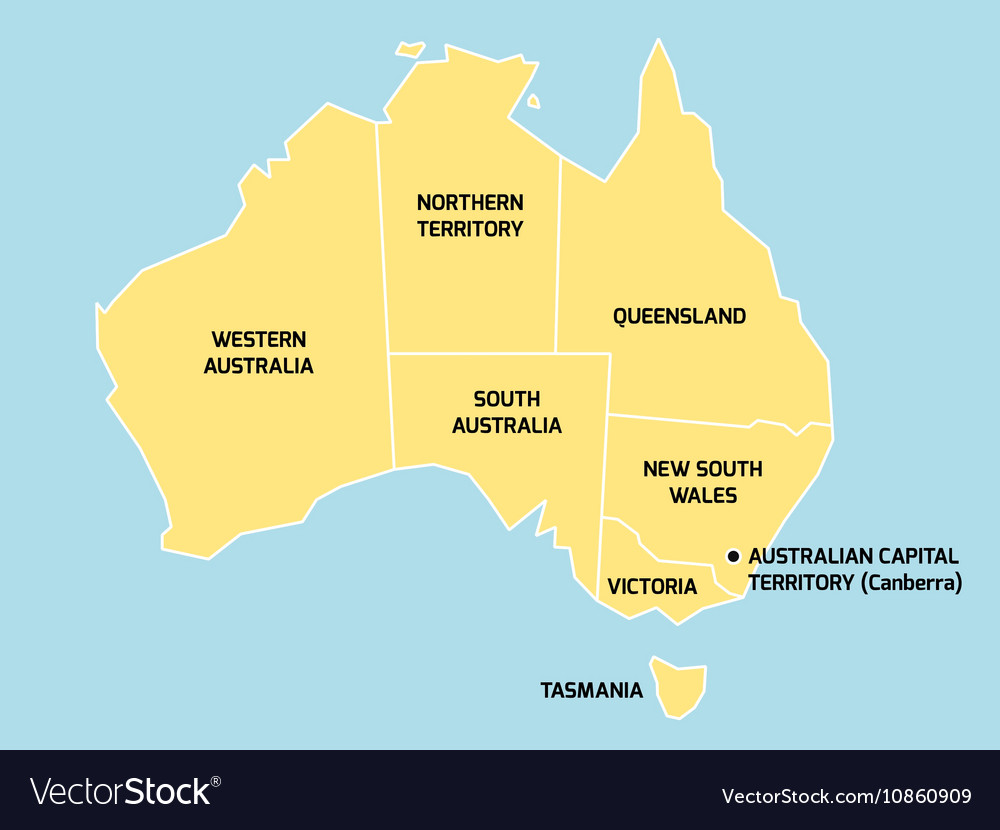 Australia On A Map.Australia Map With States And Territories