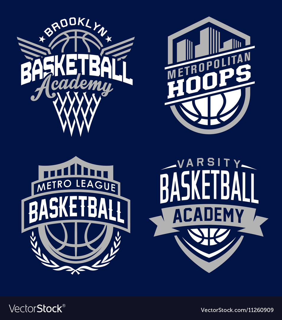 Basketball sport emblem set