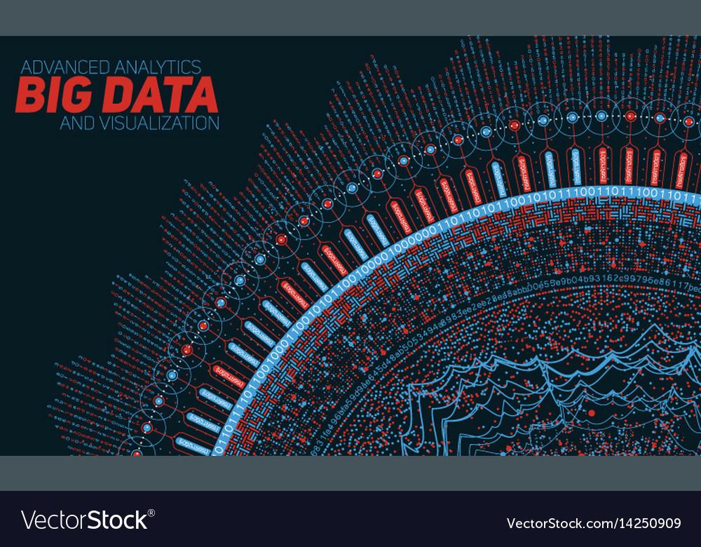 Big data circular visualization vector image