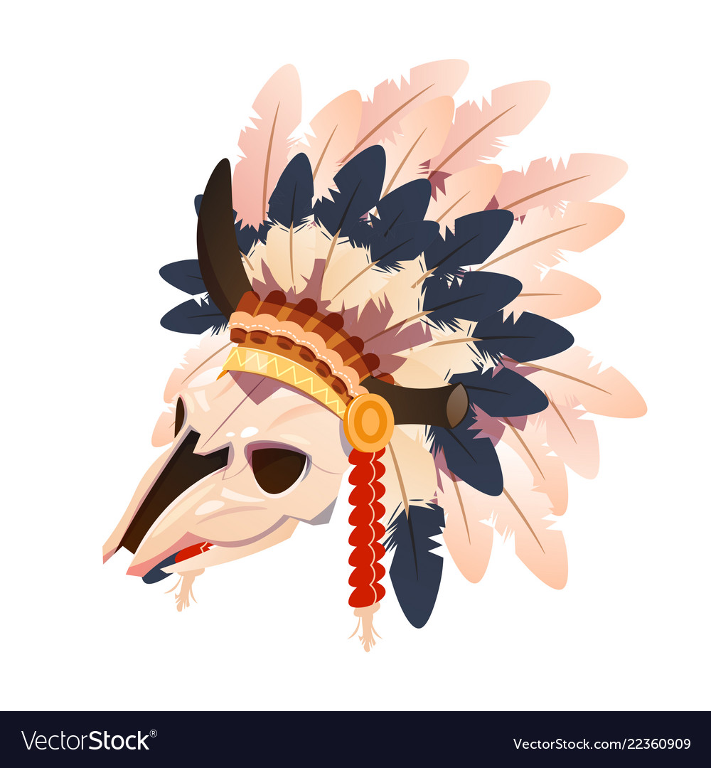 Cartoon character buffalo skull with indian