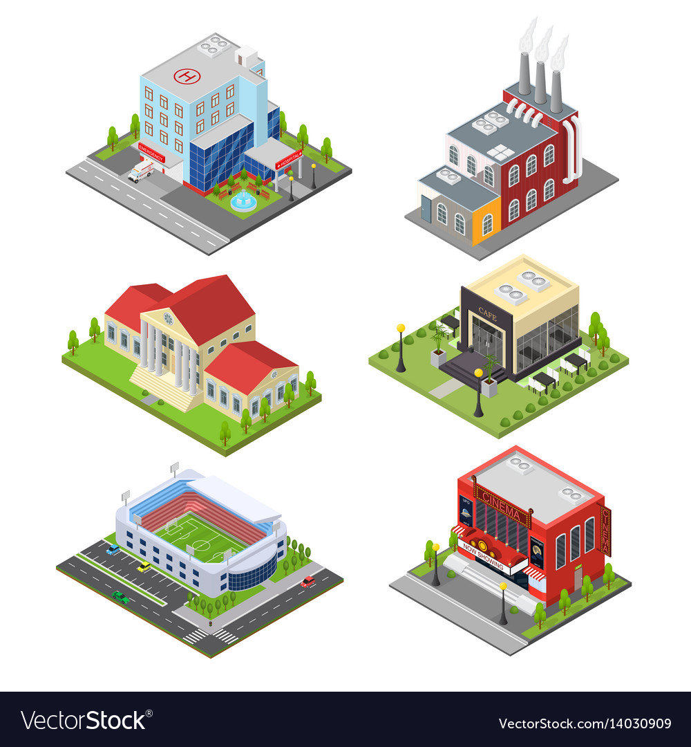 City building set isometric view vector image