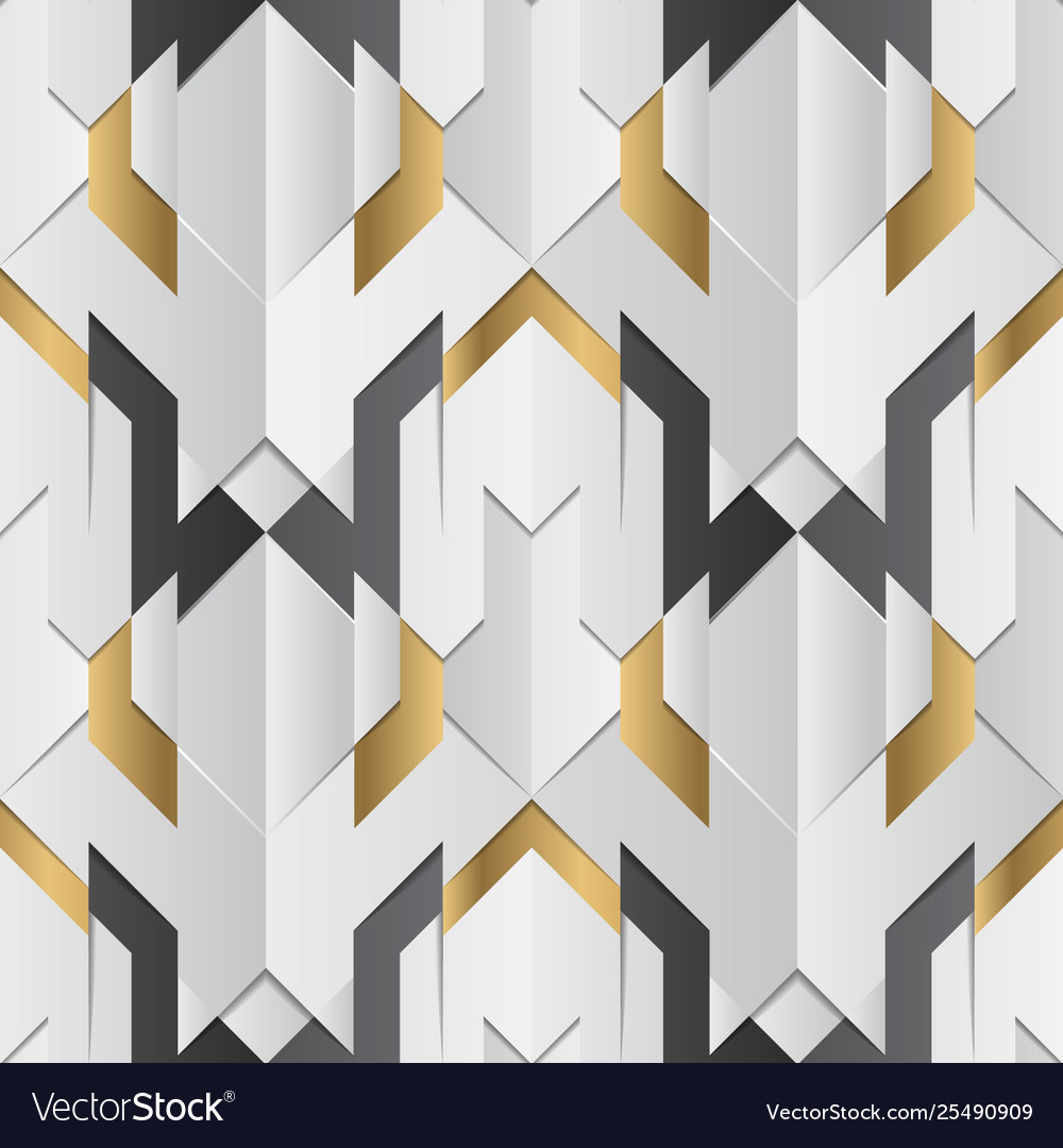 Geometric decor stripes white and golden element