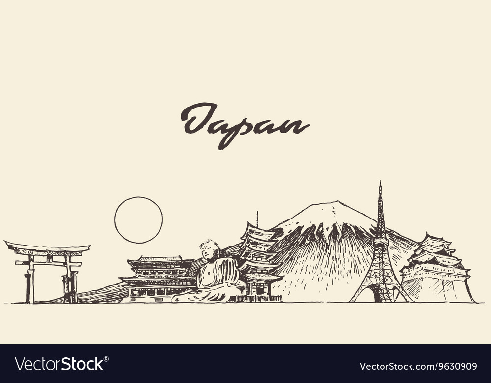Japan skyline drawn sketch