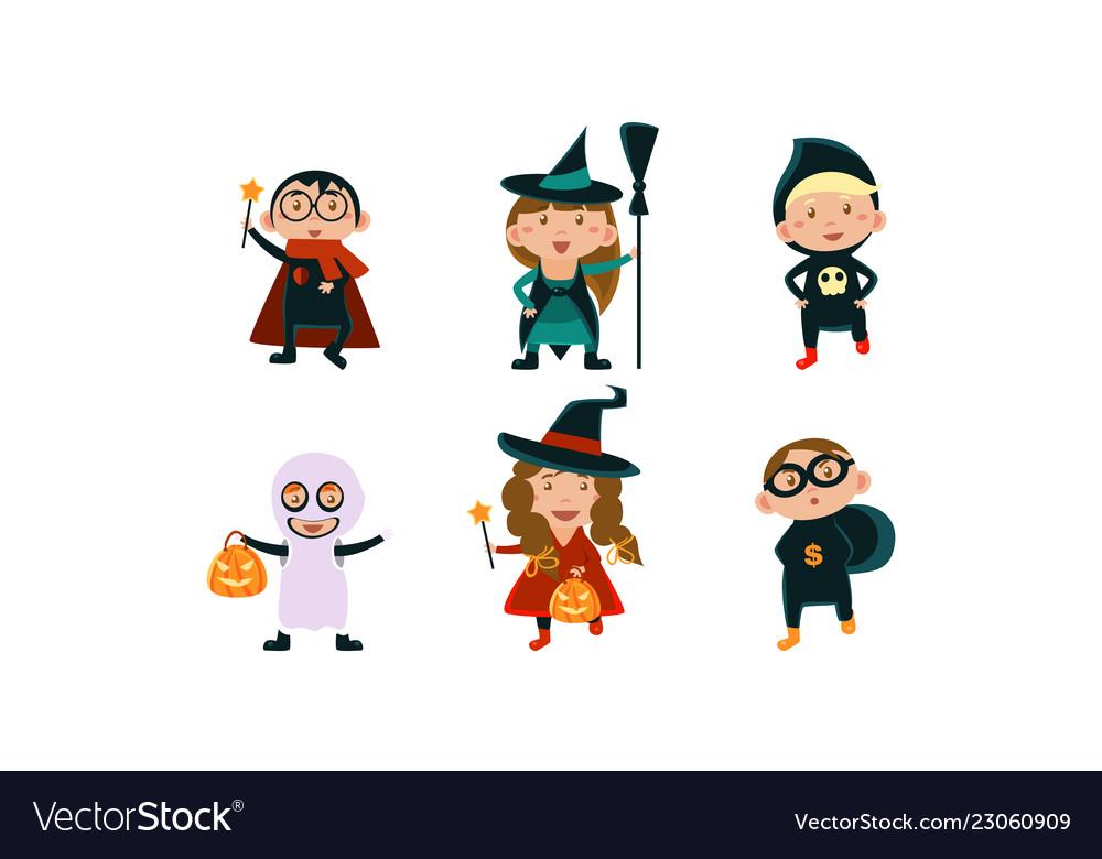 Kids in halloween costumes set funny children
