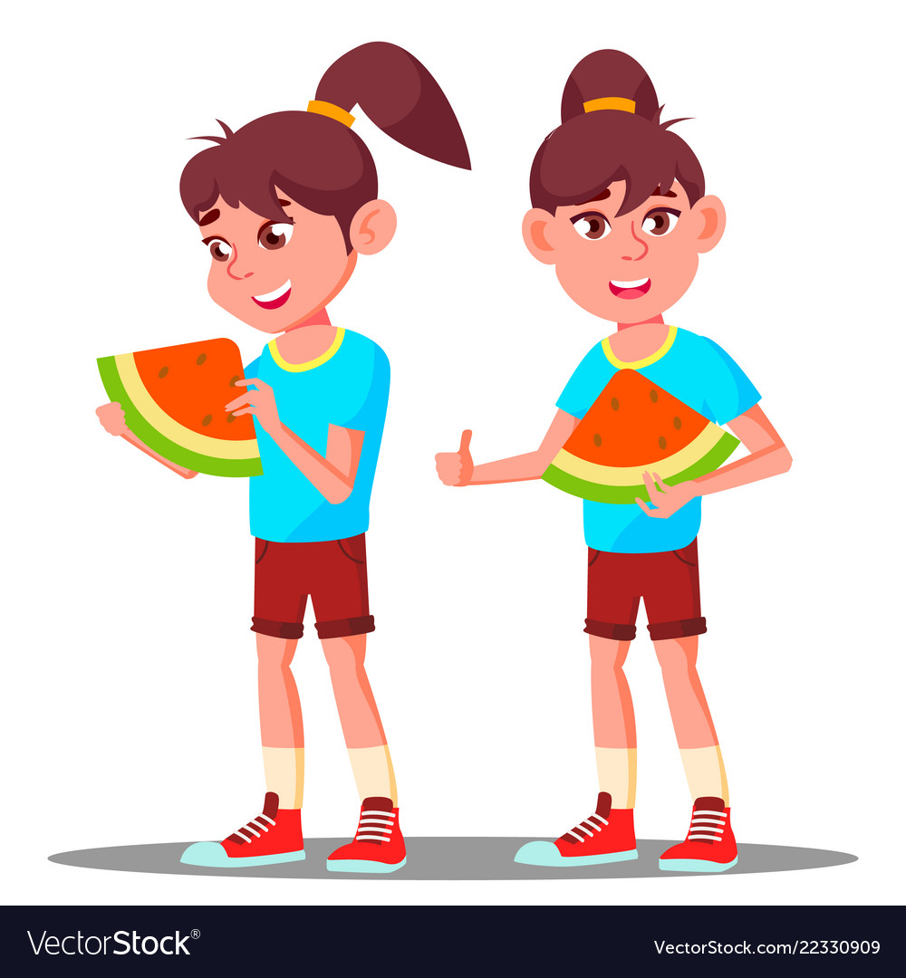 Little girl eating a large slice of watermelon