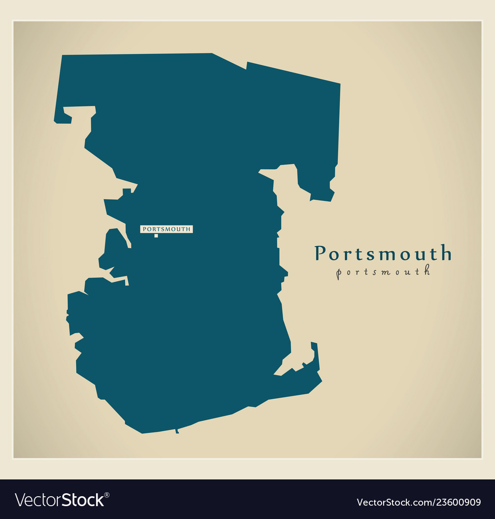 Map Of England Portsmouth.Modern Map Portsmouth Unitary Authority England