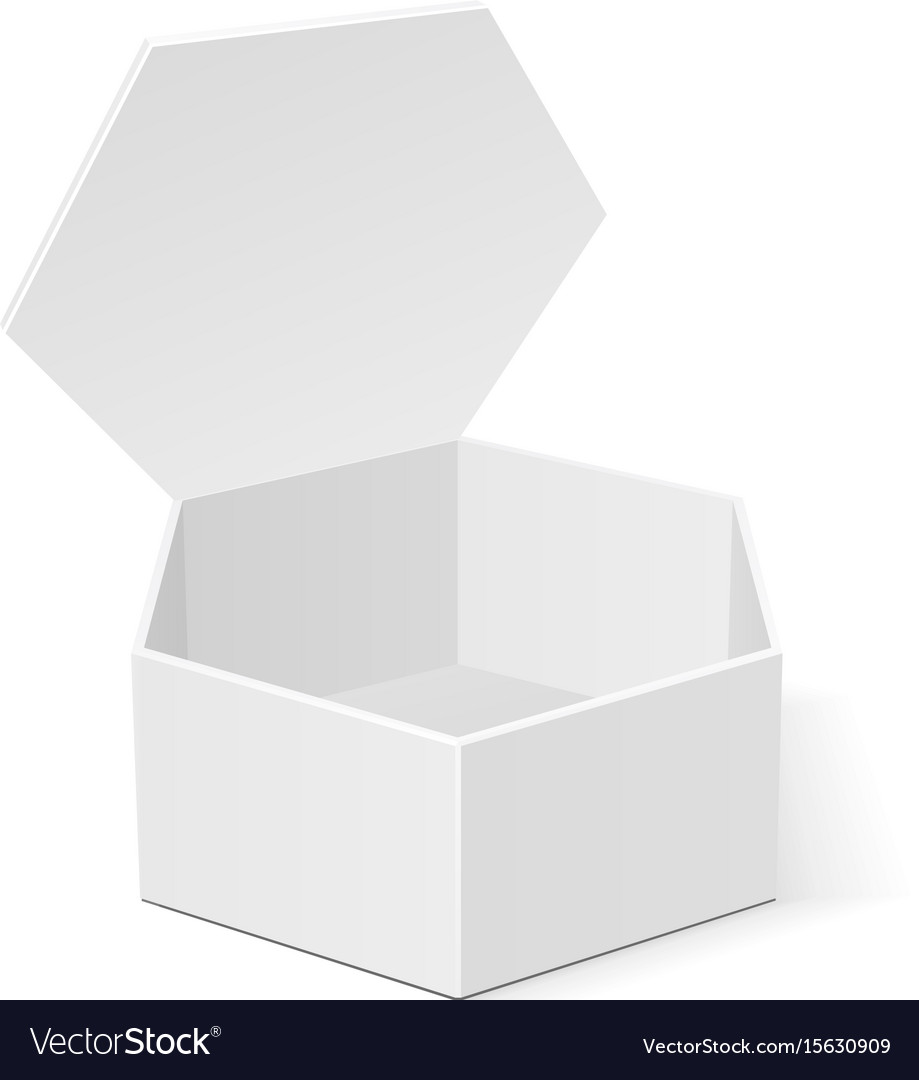 Open white cardboard hexagon box packaging for