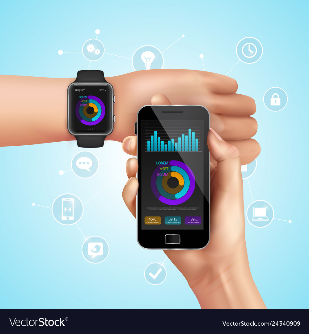 Realistic smart watch composition