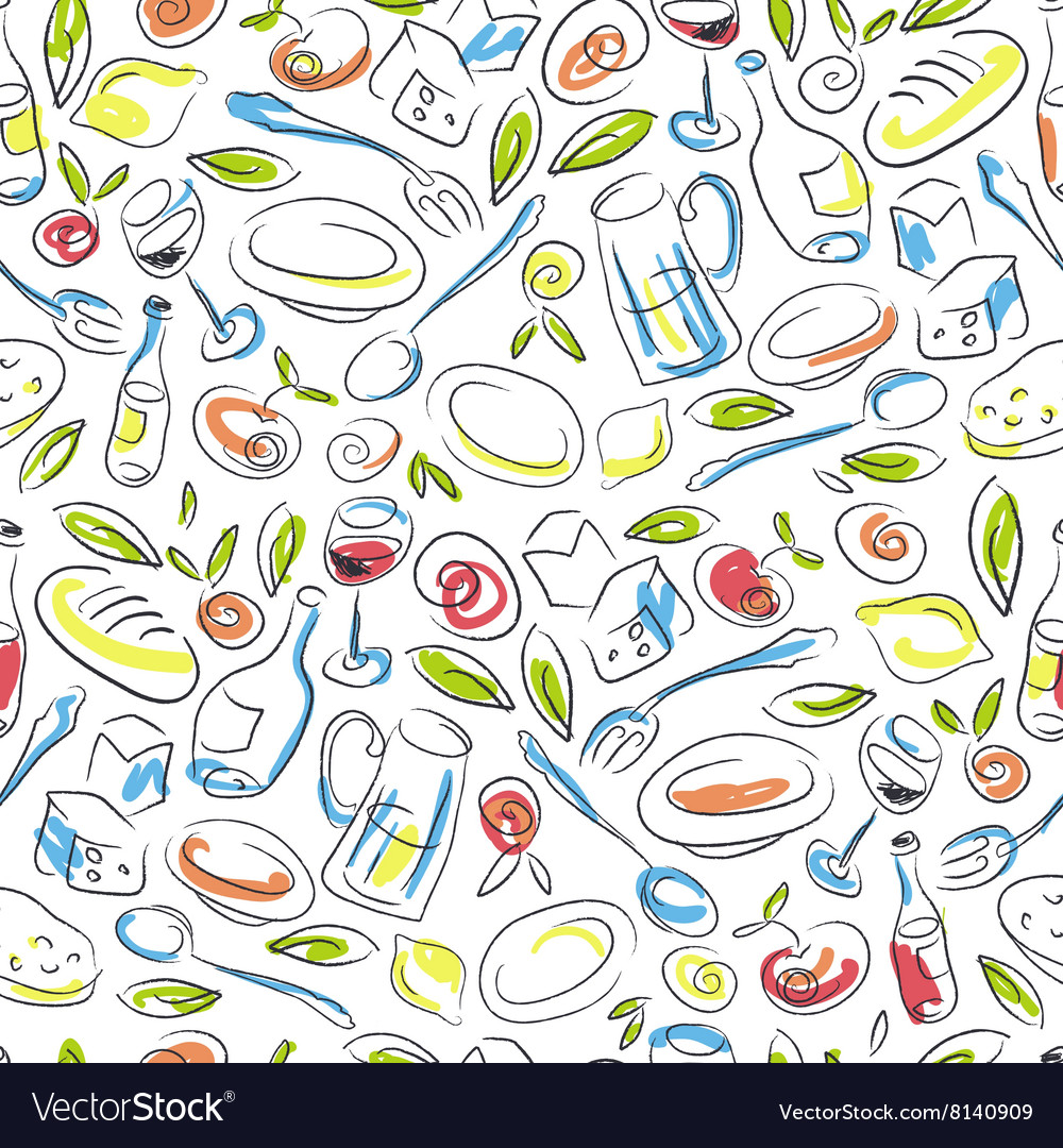 Restaurant Colorful Hand-drawn Seamless Pattern
