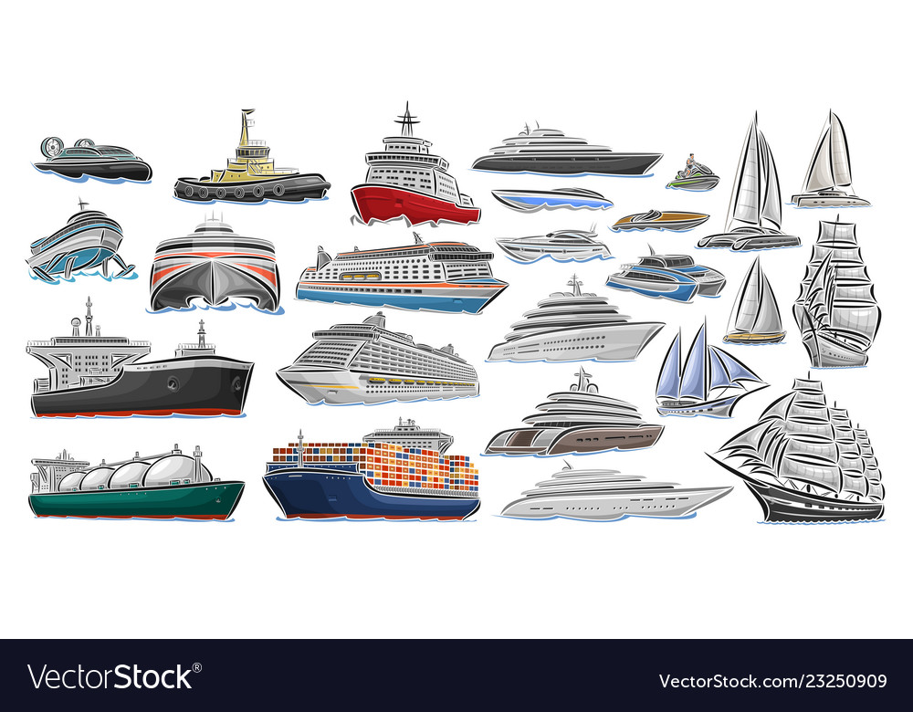 Set of different ships and boats