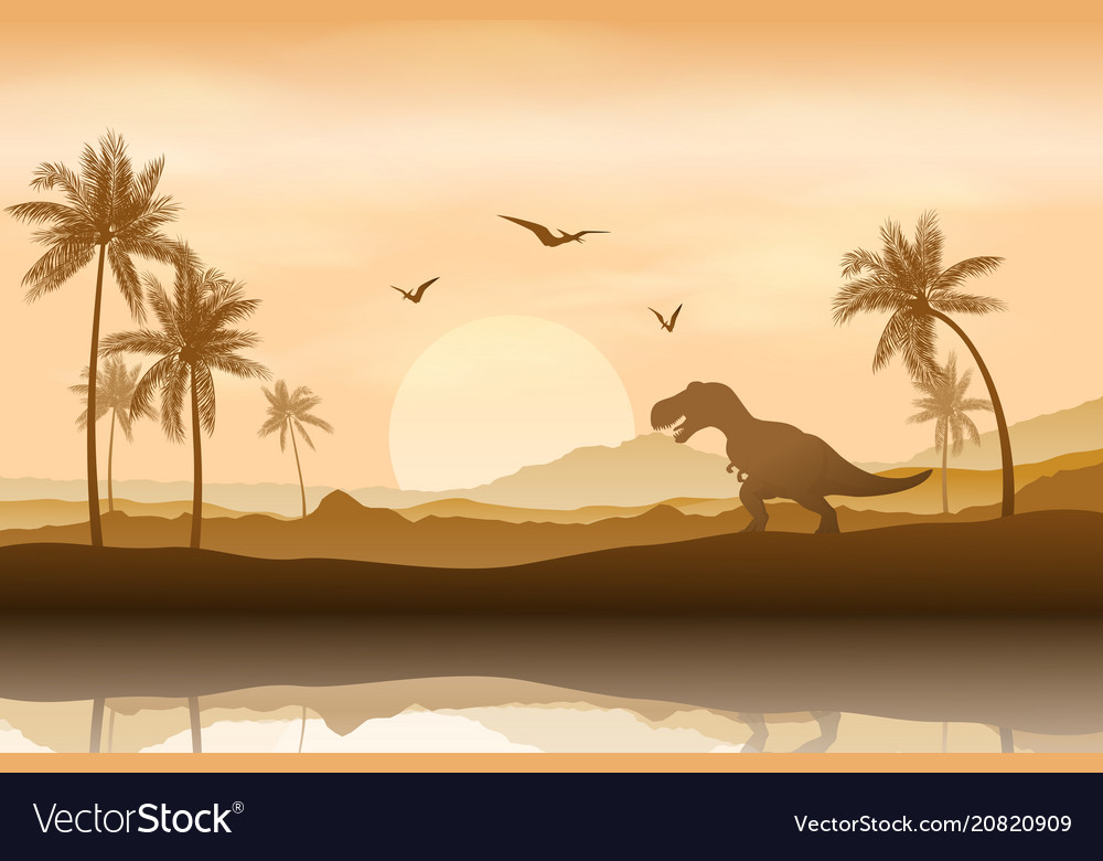 Silhouette of a dinosaur in riverbank background vector image