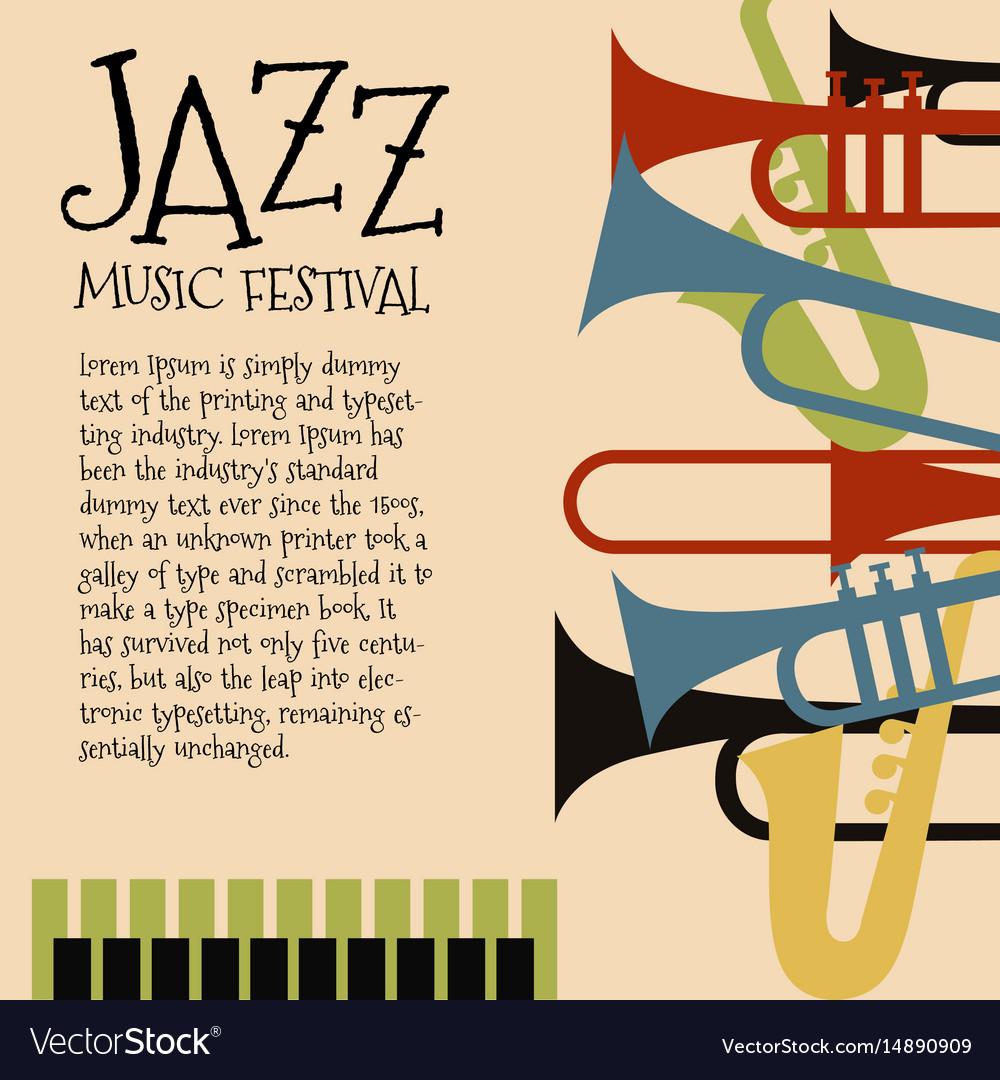 template for jazz concert poster or flyer vector image