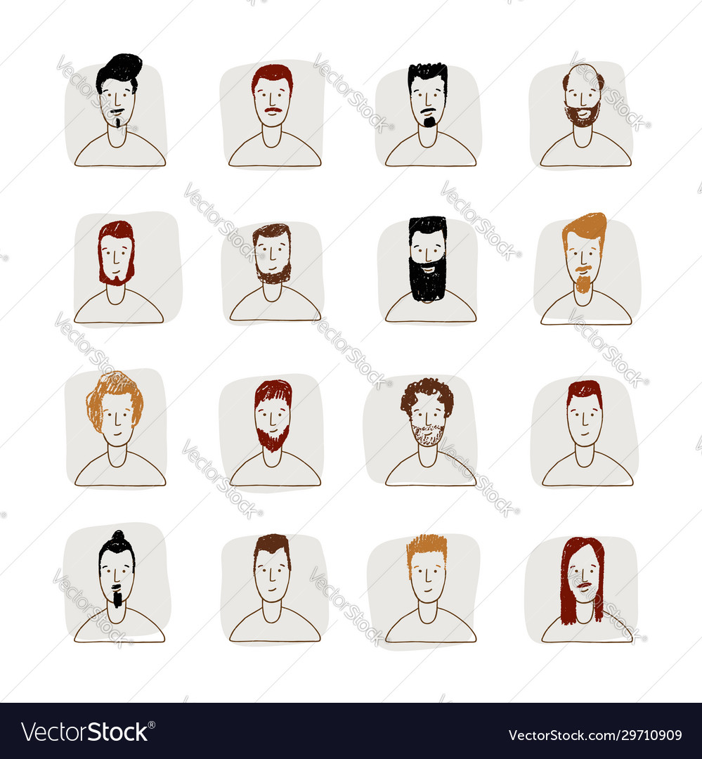 Young man avatar hand drawn style icon set