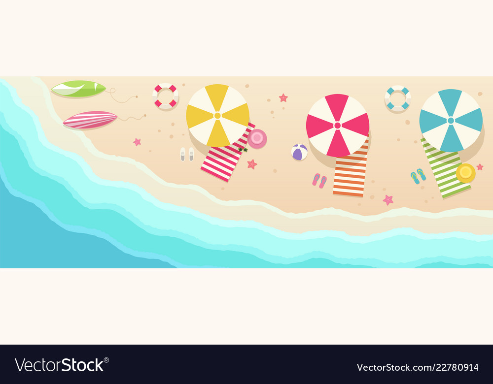 Beach top view with umbrellas towels surfboards