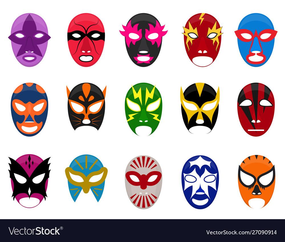 Cartoon Color Mexican Wrestling Mask Icon Set Vector Image