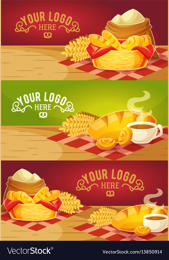 Collection of cartoon banners with fresh vector image