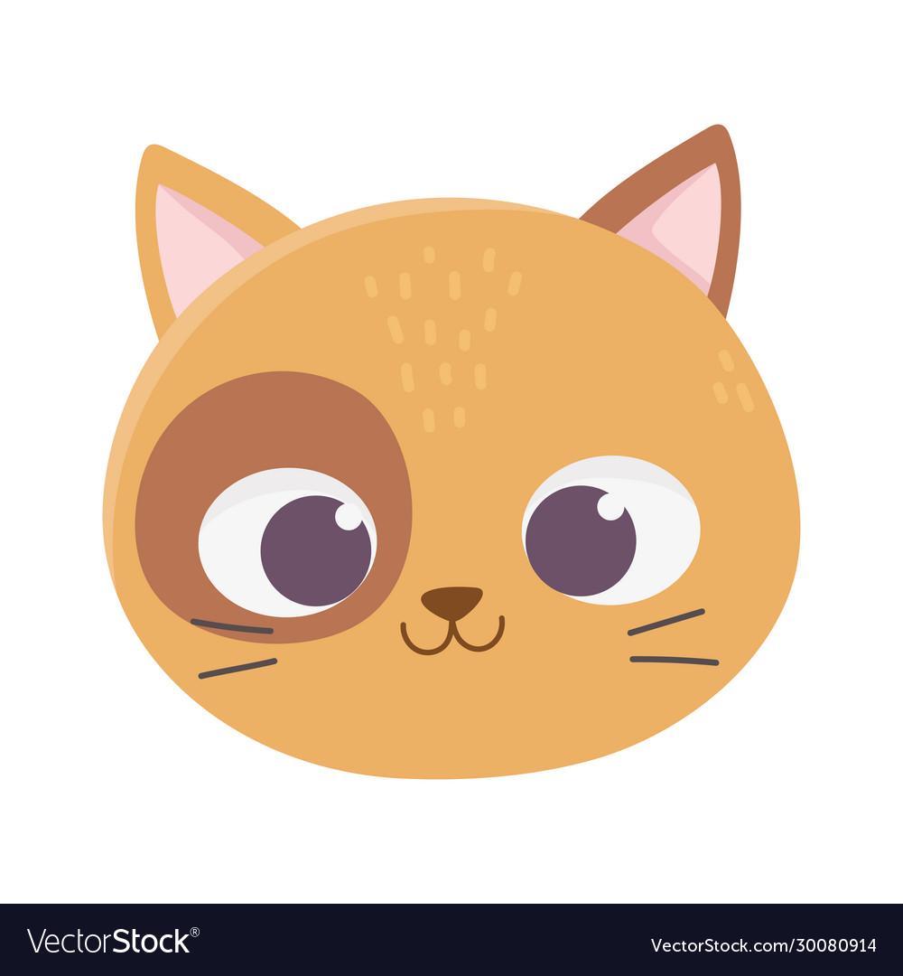 Cute cat face feline cartoon animal icon