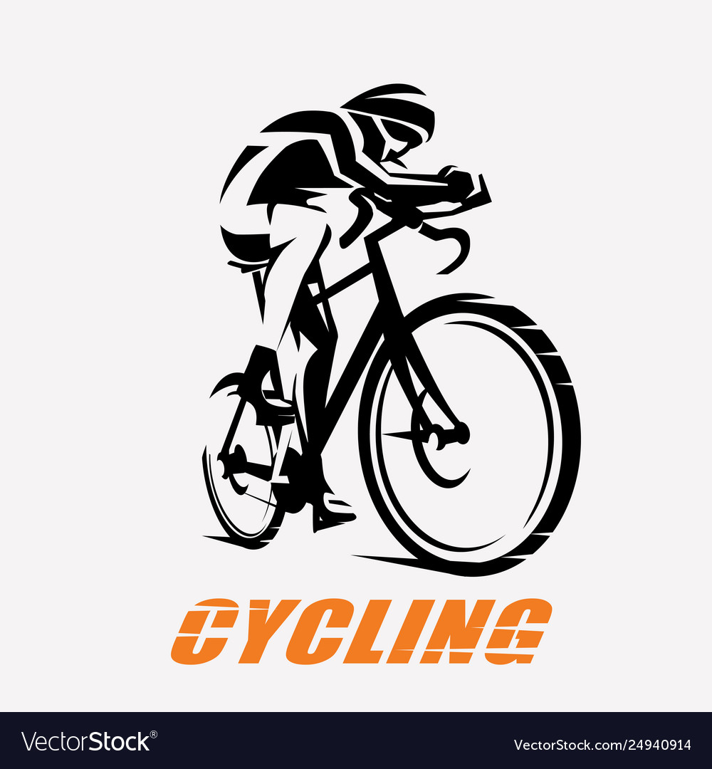 Cycling race stylized symbol outlined cyclist