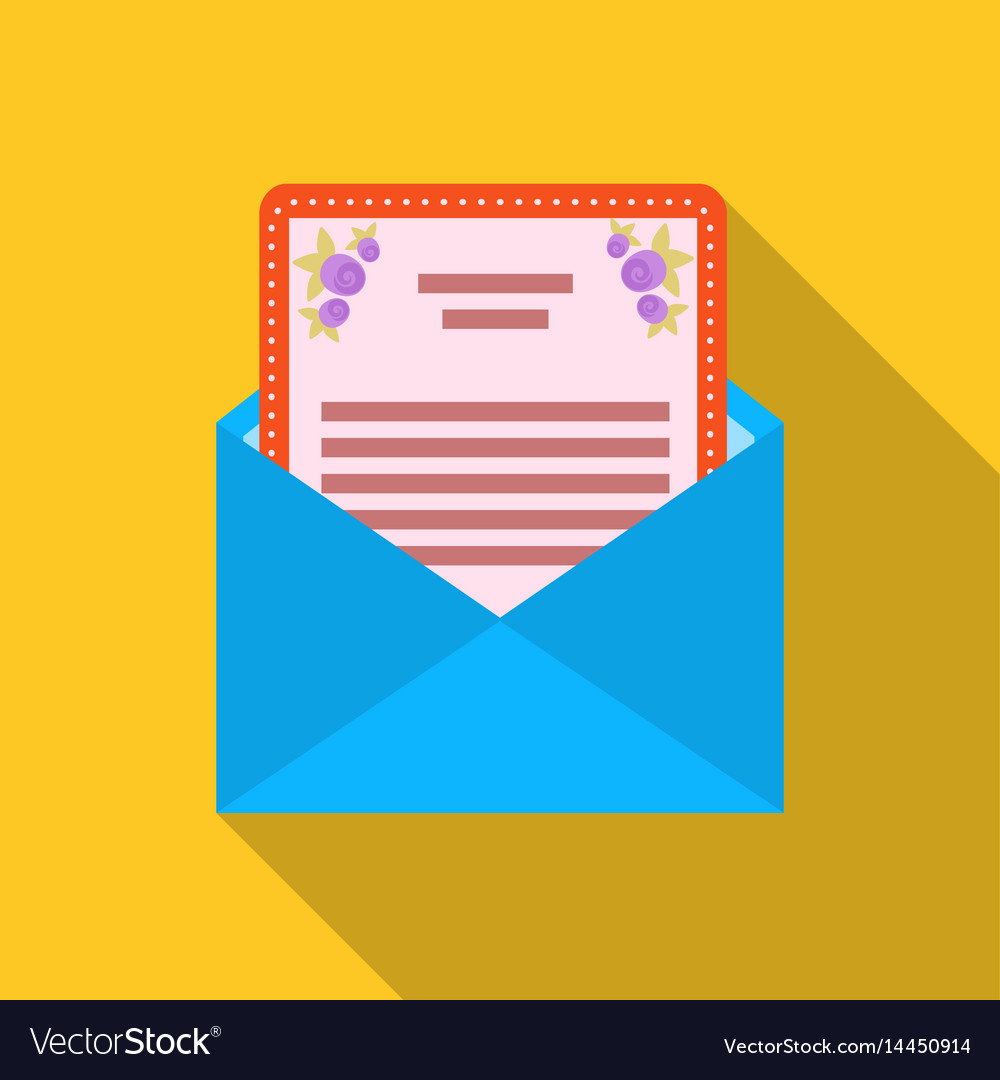 Envelope with invitation card icon in flat style vector image stopboris Choice Image