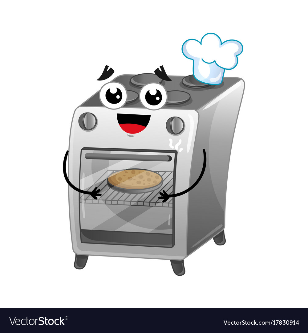 Happy gas stove isolated cartoon character