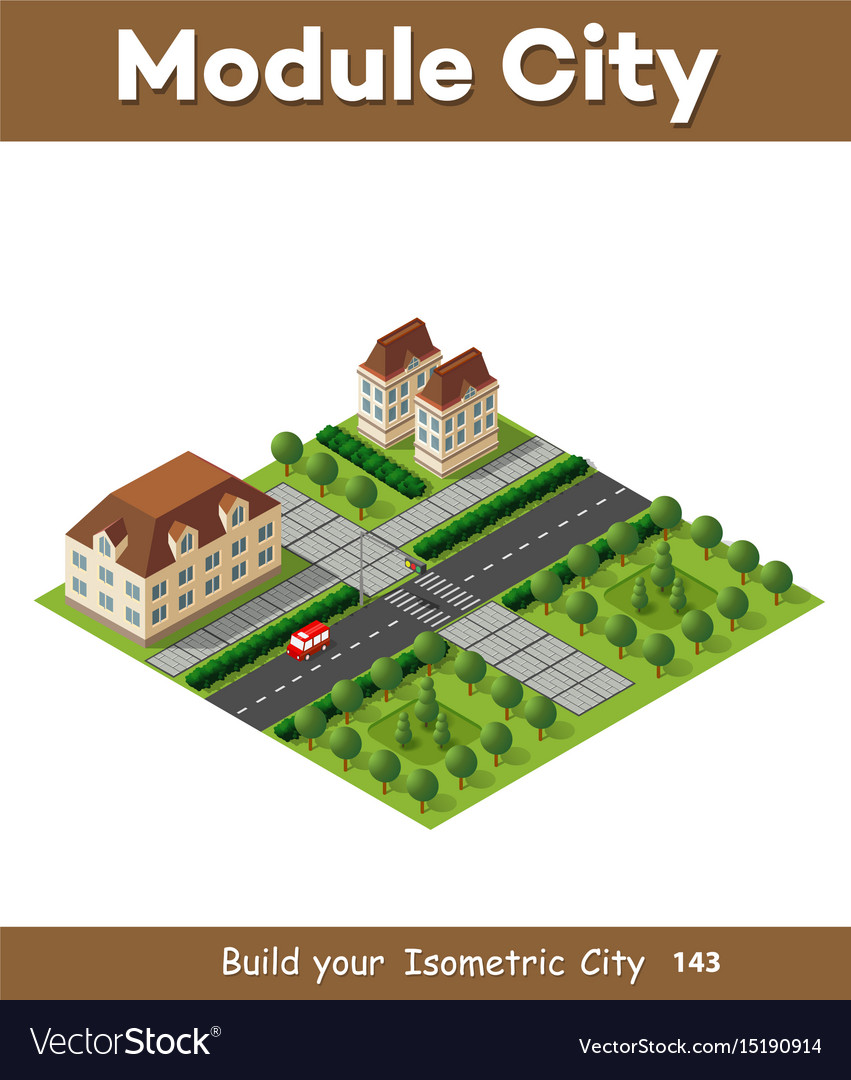 Isometric retro 3d urban module of the city for