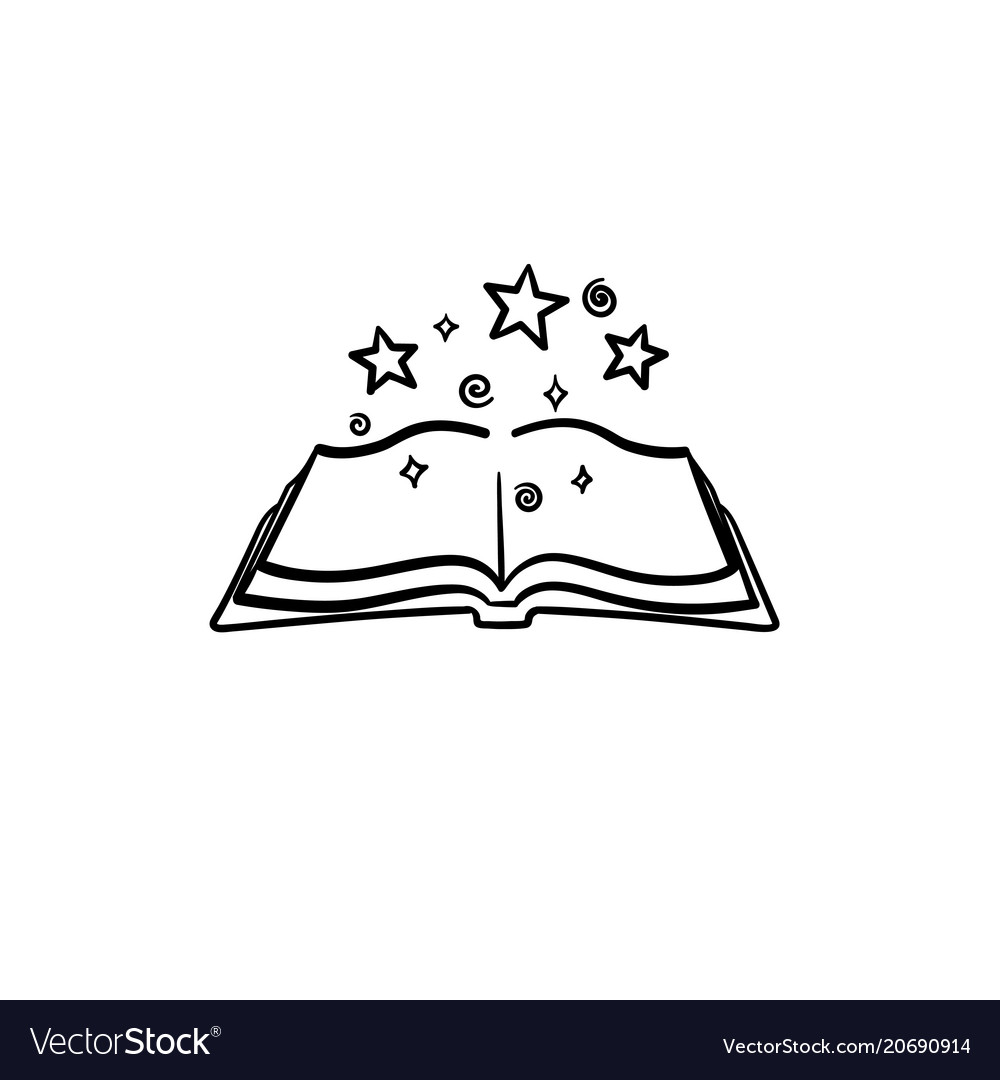 Open magic book with stars hand drawn sketch icon