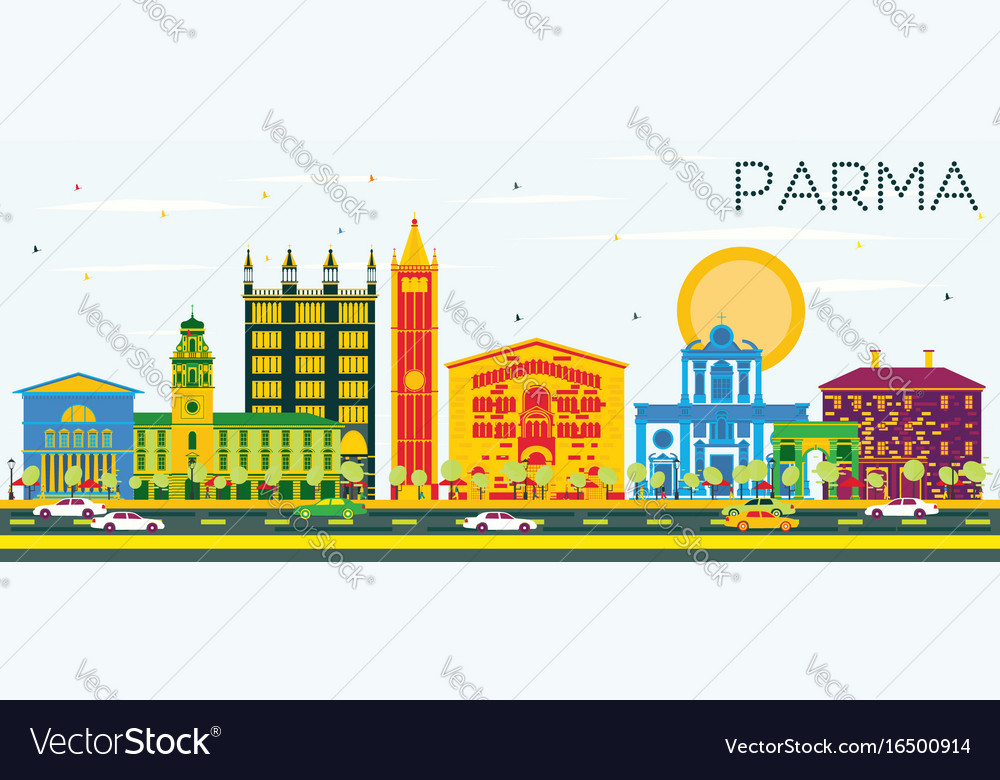 Parma skyline with color buildings and blue sky vector image