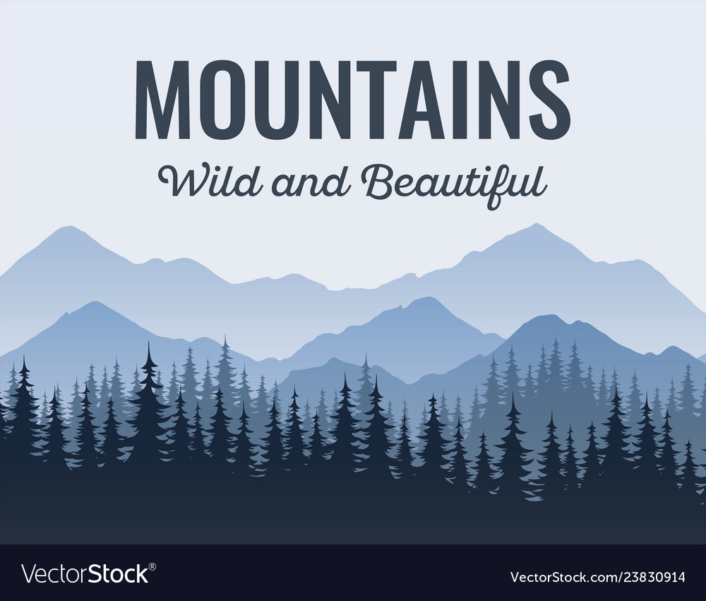 Poster with mountains scenic landscape with