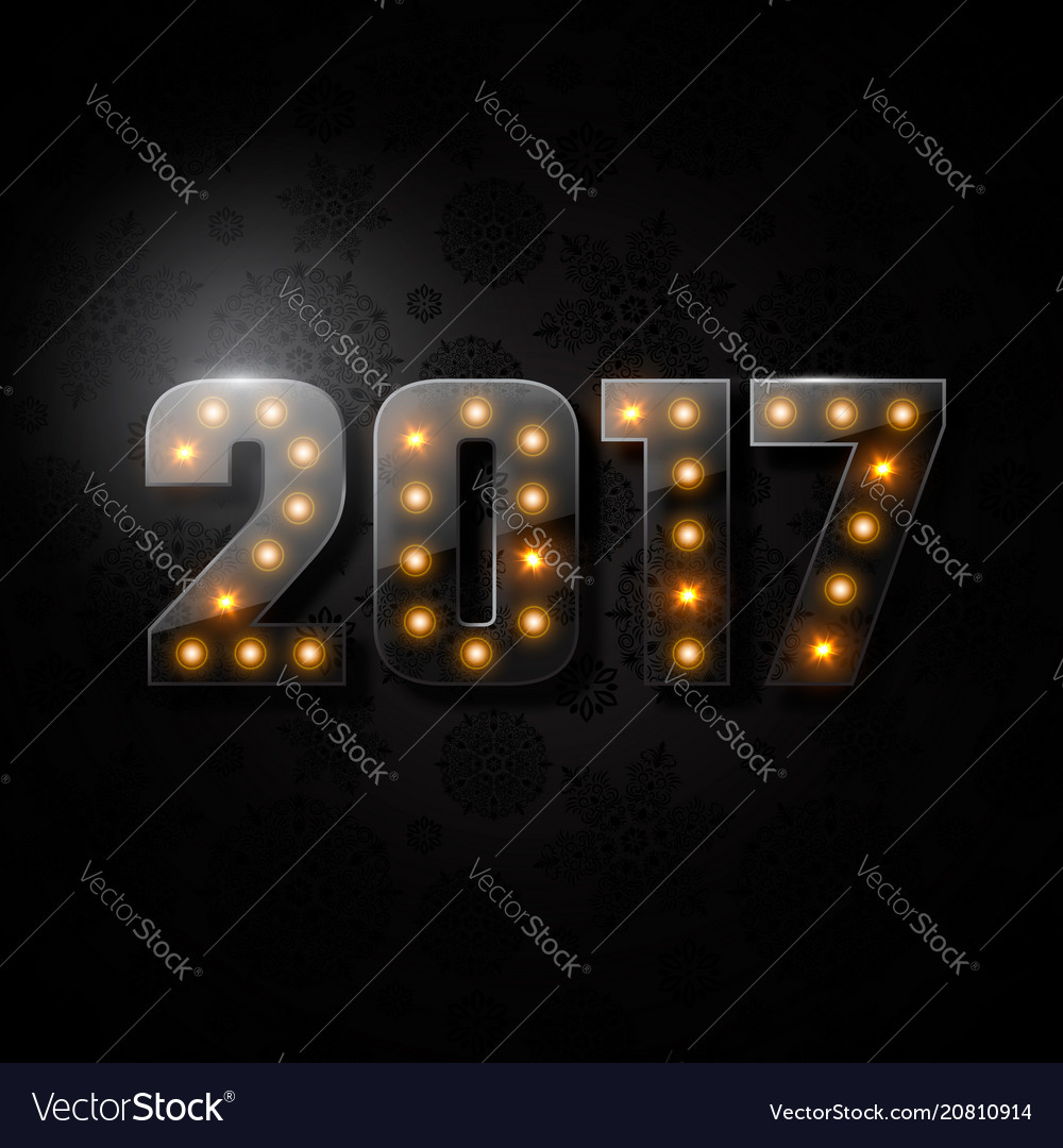 Transparent glass numeric 2017 christmas new year vector image