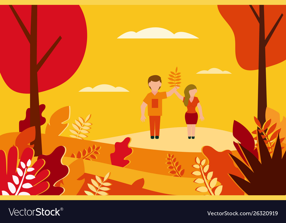 Autumn landscape in flat style