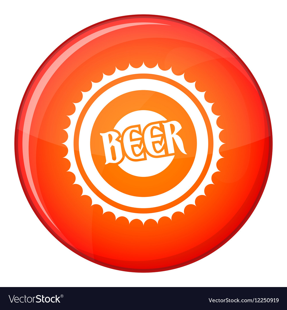 Beer bottle cap icon flat style